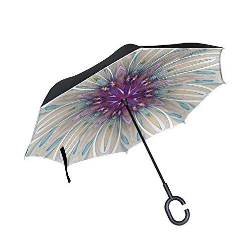 ISAOA un Paraguas Grande Puede Paraguas Resistente al Viento Doble Capa invertido Plegable Paraguas para Lluvia de Coche al Aire Libre Uso, Mango en Forma Paraguas Belleza patrón Mandala