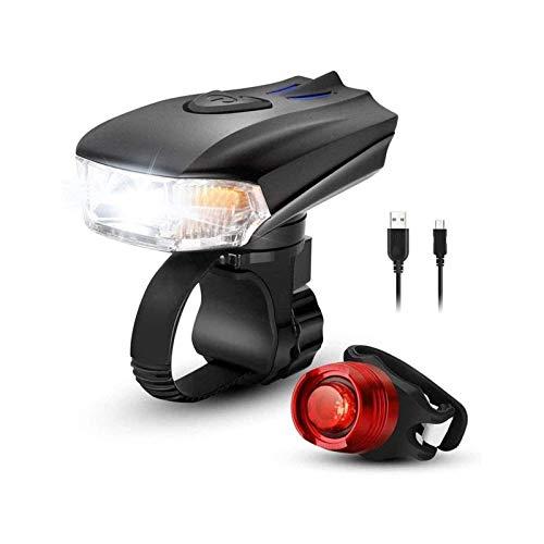 XTZJ Luz de bicicleta, conjuntos de luces de bicicleta recargables USB Ultra brillante, faros de bicicleta LED y luz trasera con IPX6, linterna de seguridad de ciclismo de carretera, luces 5 modos