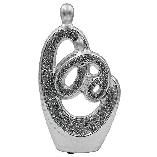 The Leonardo Collection Silver Sparkle Sculpture Indoor Romance Decorative Diamante Art Statue Ornament