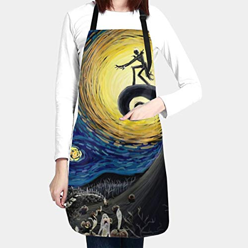 ZJBLHEQ Dead The Nightmare Before Christmas (The Starry Night) Adult Kitchen Apron with 2 Pockets Adjustable Ties Waterproof Chef Bib Fit Cooking Baking Drawing BBQ for Women Men