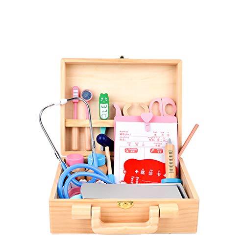 wangxike Kinder Arztkoffer Holz Spielzeug, Doktorkoffer Kinder mit Arzt Zubehör 28 Stück, Zahnarzt Rollenspiel Spielzeug Kit Lernspielzeug Geschenk für Jungen Mädchen
