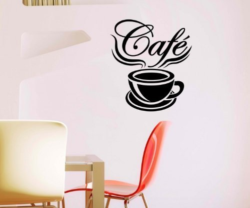 myDruck-Store Adesivo da Parete Cafe caffè Aforisma Cucina Coffee Sticker Adesivi da Parete 5q547, Grigio Scuro Opaco, 50cm