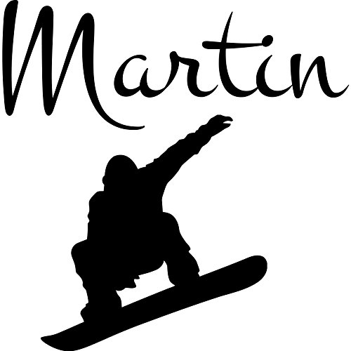personalisiertem Namen Wand Sticker Snowboard Art Vinyl Aufkleber Jungen Kinderzimmer Schlafzimmer Aufkleber Home Decor Sport Club Wandmalereien (mn659), Vinyl, 96cmTall x 94cmWide