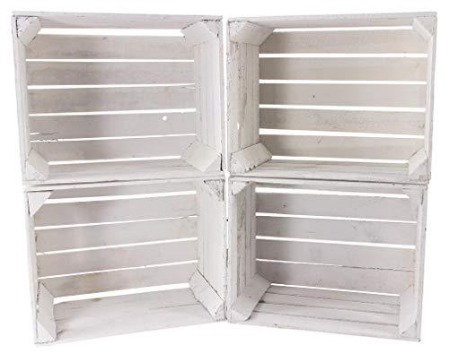 Kontorei® Schreibtisch Unterbau aus weißen Holzkisten (Links) 74cm x 65cm x 35cm 4er Set Obstkisten Weinkiste Regal Weiss Zwischenbretter Vintage Holzbox Apfelkisten Einlegeböden Tisch