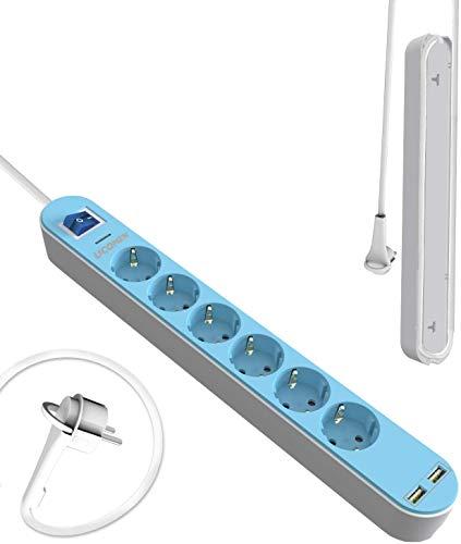 6-Wege-Steckdosenleiste mit Beleuchtungsschalter und 2 USB-Steckdosen (5 V / 2,4 A, 12 W) mit Überstromschutz, 1,5 m Kabellänge,3680W - Blau