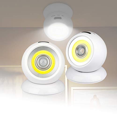 LED Luz del Guardarropa,Recargable Tiras USB Inalámbrico Luces Armario con Sensor Movimiento Rotación de 360°,para Gabinete,Escalera,Pasillo,Cocina Luz Sensor (2 Pack)