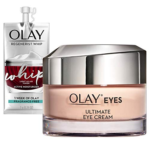 Olay Ultimate Eye Cream for Wrinkles, Puffy Eyes + Dark Circles, 0.4 Oz + Whip Face Moisturizer Travel/Trial Size Gift Set
