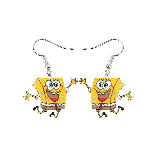 Acrílico Impreso Jumping Goofy Bob Esponja SquarePants Fun Declaración Pendientes de gota de plata