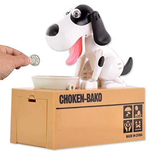 MUCHEN SHOP Perro Caja de Ahorro de Dinero,Divertida Hucha de Perro Perro Hambriento Caja de Ahorro de Dinero Piggybox Hungry Dog Piggy Bank Caja de Ahorro Juguete para Niños Negro Blanco