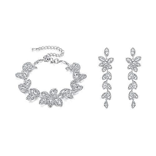 BriLove Wedding Bridal Bracelet Earrings Set for Women Crystal Multi Marquise-Shape Leaf Tennis Bracelet Dangle Earrings Set Clear Silver-Tone
