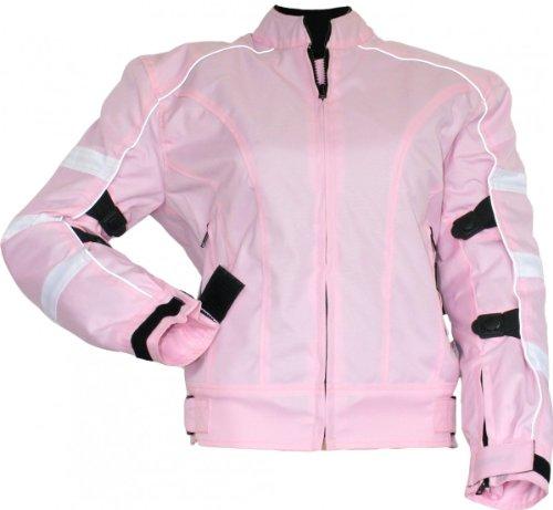 Damen Motorradjacke textilien Jacke Atmungsaktiv Kombigeeignet Rosa, Größe:3XL
