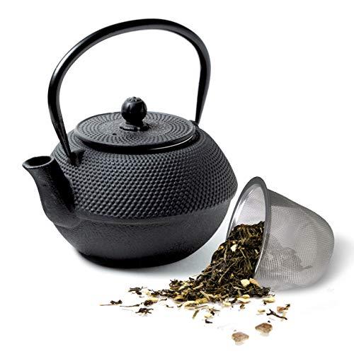 Tealøv TEEKANNE GUSSEISEN 1,1 Liter - Gusseisen Teekanne im japanischen Stil - Gusseiserne Teekanne mit Sieb aus Edelstahl - Hervorragende Wärmespeicherfähigkeit - Langlebig - Arare Schwarz