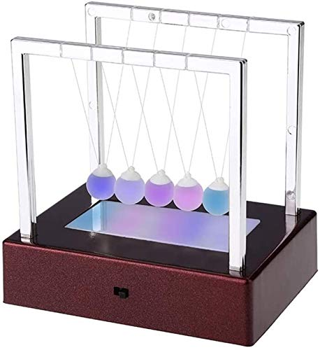 RENFEIYUAN LED Light Up Newton Cradle Balance Balls Newton Swing Glass Ball Science Psychology Puzzle Desk Fun Toy for Office Home Decoration Science Gadgets