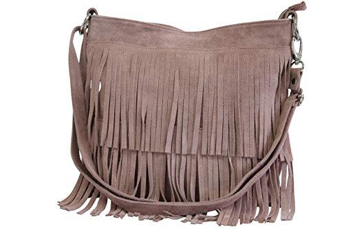 AMBRA Moda Damen Handtasche Ledertasche Umhängetasche Fransentasche Schultertasche Damentasche Wildleder 32 cm x 29 cm x 2 cm WL809 (Rosa)