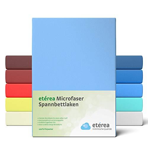 #1 Etérea Classic Microfaser Interlock Spannbettlaken, Spannbetttuch, Bettlaken, 90x200 - 100x200 cm, Hellblau