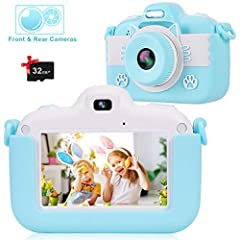 [3.0-inch IPS Touch Screen] - This kids digital camera has 3-inch HD IPS touch screen, provides children a better visual effect to discover their colorful worlds. Its eye protection screen can avoid harming your child's vision. The touch screen desig...