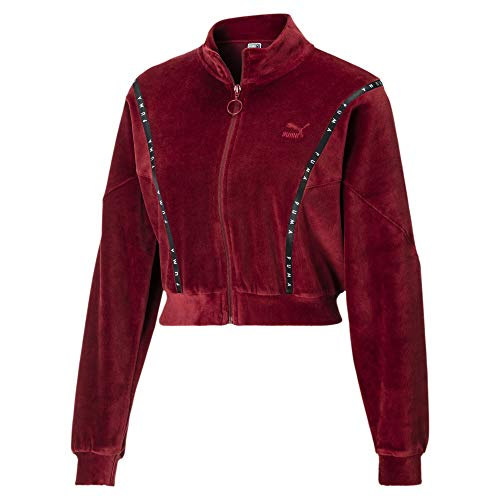 PUMA Kurze Damen Sweatjacke aus Velours Pomegranate