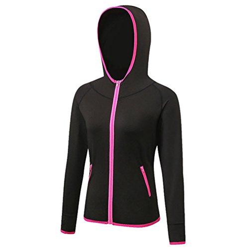 YiJee Donna Felpa con Cappuccio Manica Lunga Hoodie Fitness Jogging T-Shirts Asciugatura Veloce Nero3 M