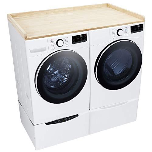 Washer Dryer Countertop - Butcher Block with Edge Rails - 30' Depth x 54' Width