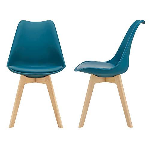 [en.casa] 2er-Set Design Esszimmerstühle 81 x 49cm Türkis PU-Kunstleder Polsterstuhl Stühle Wohnzimmerstuhl Küchenstuhl