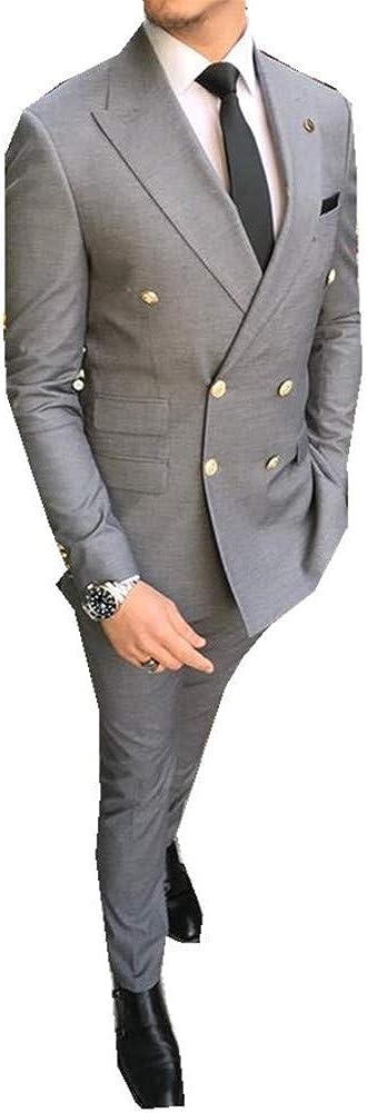 White Peak Lapel Men Suits Prom Grooms Wedding Tuxedo Business Suits