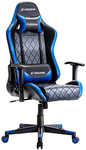 EXRACING ゲーミングチェア オフィスチェア 【 人間工学に基づいた3D設計 】 非再生ウレタン採用 (ブルー) EX-001-BLUE