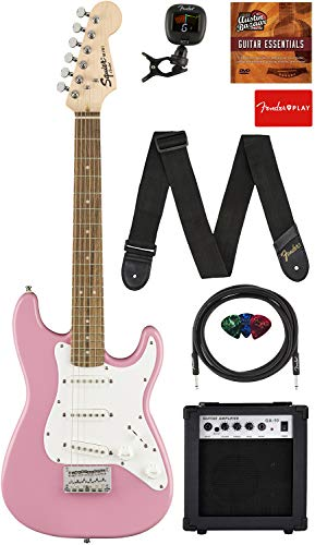 Fender Squier 3/4 Size Kids Mini Strat Electric Guitar - Pink Bundle with Amplifier, Instrument Cable, Tuner, Strap, Picks, Fender Play Online Lessons, and Austin Bazaar Instructional DVD