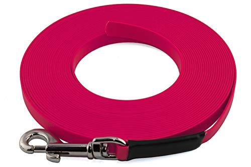 LENNIE Leichte BioThane Schleppleine, 9mm, Hunde 5-15kg, 5m lang, ohne Handschlaufe, Neon-Pink, genäht