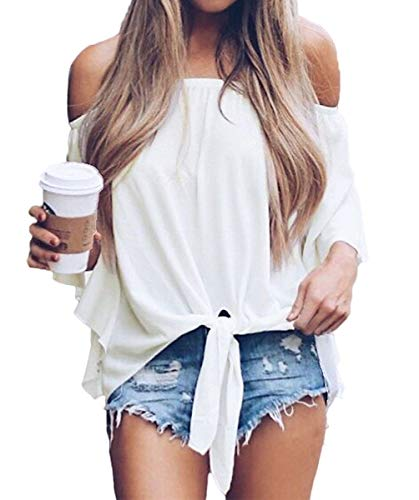 Womens Summer Short Sleeve Tops Flowy Loose Chiffon Shirts Blouses White XL
