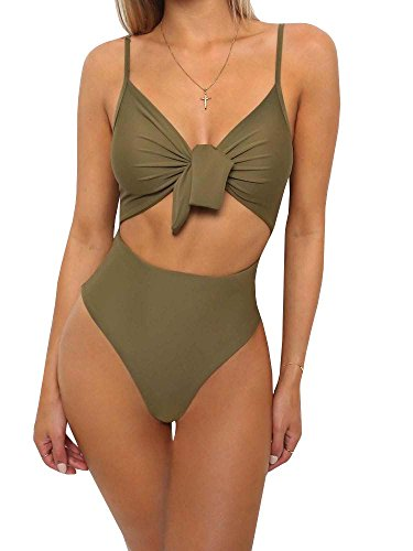 Ybenlover Damen Halter Push Up Bikini Set Neckholder Bandeau Sexy Badeanzug (M, E-Armeegrün)