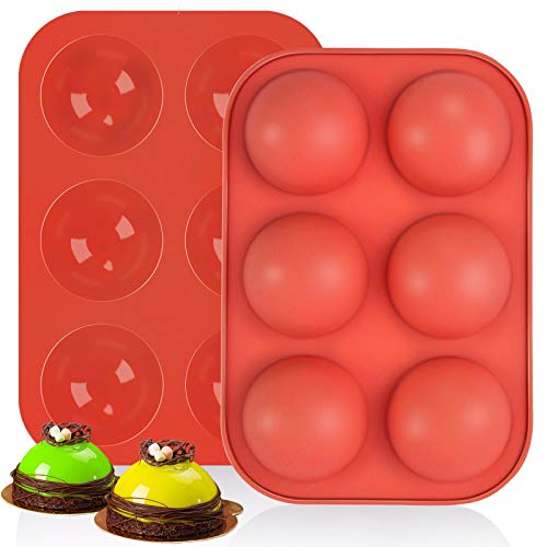 MOLOVEE Semi Sphere Silicone Mold,Baking Mold,Round Silicone Molds for Chocolate Bombs 2Pack Hot Cocoa Bomb Mold (Brick Red)