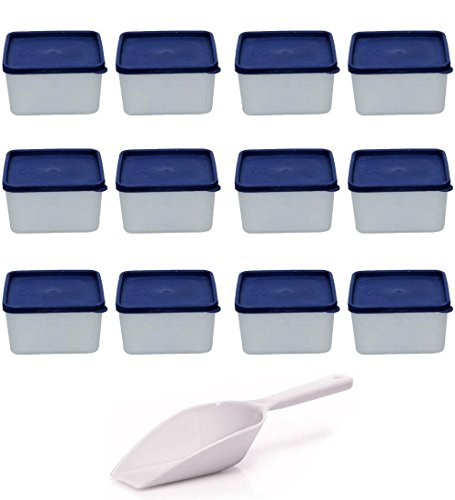 Viva-Haushaltswaren 12 Gefrierdosen, Kühlschrankdosen je 0,5 Liter Volumen BPA-frei, inkl. einer Einfüllschaufel