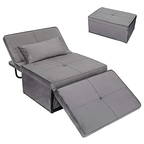 Convertible Chair Sleeper Bed,Sofa Chair Bed Sleeper,Folding Ottoman Sleeper Guest Bed,4 in 1 Multi-Function Sofa Bed for Small Space,Easy to Adjust from Ottoman to Chair to Chaise to Bed,Dark Grey