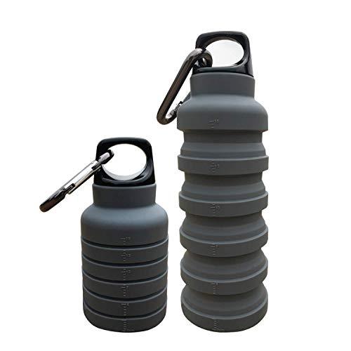 ThinsGO, la borraccia pieghevole, ermetica, realizzata in silicone, leggera, ecologica e riutilizzabile, per viaggi, campeggio, trekking, escursioni, corsa, 250-500ml, 255-481 g., Grey