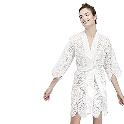 White Bridal Lace Robe Style 4715471808, White, L/XL by David's Bridal