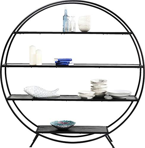 Kare Design Regal Mason Round, rundes Regal mit 4 Einlegeböden für Deko und Bücher, rundes Bücherregal, modernes, Schwarzes Standregal (B/H/T) 180x185x13cm