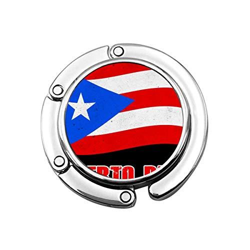 Purse Hook for Table, Puerto Rico Flag Portable Bag Hanger Handbags Clips for Women Holder Storage Folding Desk Organizer Storage
