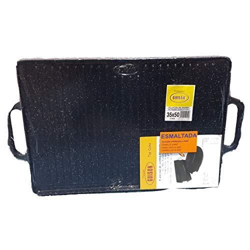 Guison 12050 rechthoekig geëmailleerd gietijzeren bakplaat, 35 x 50 cm, zwart