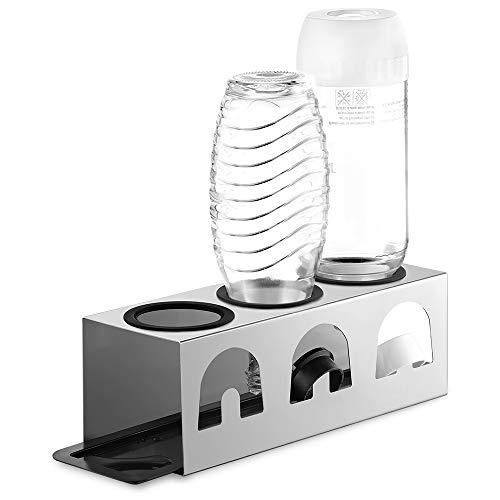 ecooe NEU Abtropfhalter mit Abtropfmatte und Kantenschutzringe aus Edelstahl/Abtropfständer für SodaStream Glaskaraffe und Emil Flaschen Für 3 Flaschen und 3 Deckel/Flaschenhalter Edelstahl