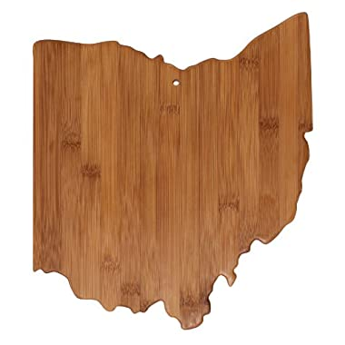 "Totally Bamboo State Cutting & Serving Board – ""OHIO"", 100% Organic Bamboo Cutting Board, Extremely Strong and Durable Perfect for Cooking, Entertaining, Décor and Gift Set. Designed in USA"