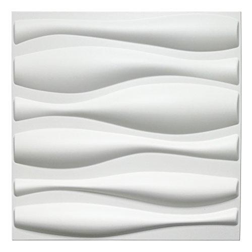 Art3d Durable Plastic 3D Wall Panel PVC Wave Wall Design, White, 12 Panels 32 SF