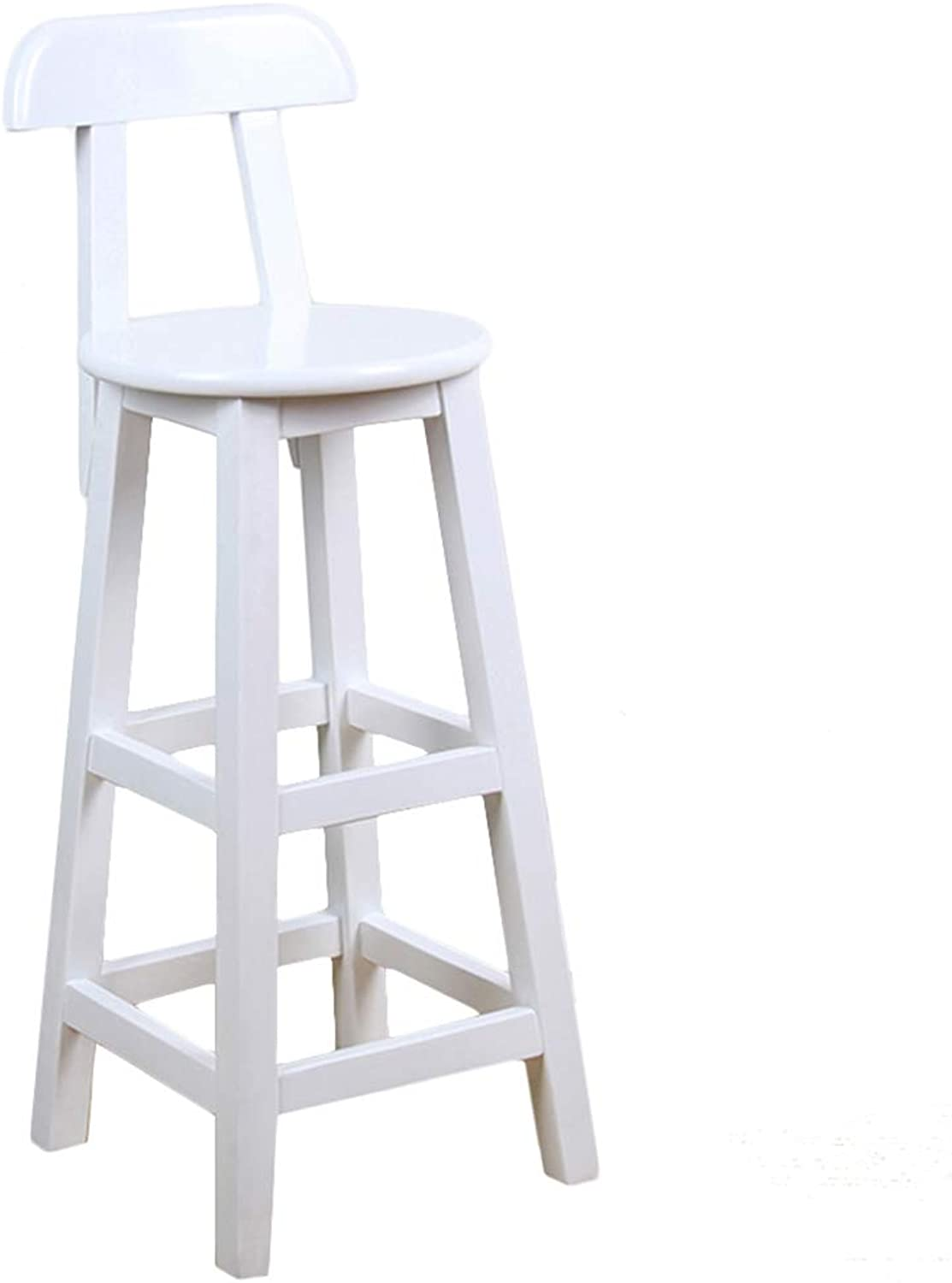 LIQICAI Wooden White Bar Stool with Backrest and Footrest Breakfast Extremely Comfy, 4-Leg Structure, 3 Height Optional (color   1 PCS, Size   36x36x80cm)