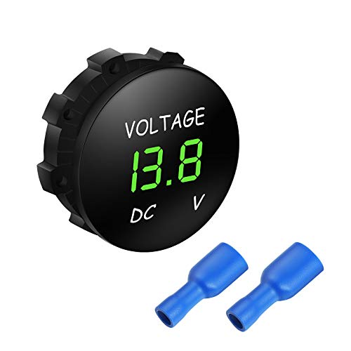 WINOMO DC 12V-24V LED Display Digital Voltmeter Spannungsmesser für Auto Motorrad Auto LKW Boot Marine (grünes Licht)