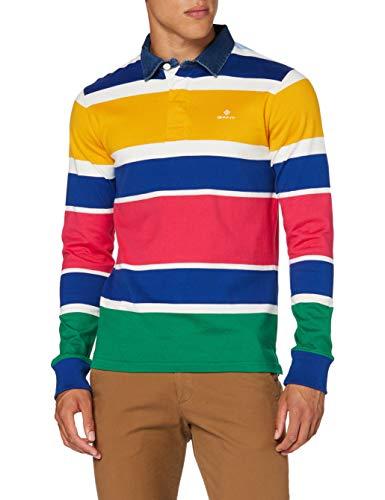 Photo of GANT Men's D1. Multi Stripe Heavy Rugger Polo Shirt, Multicolor, M