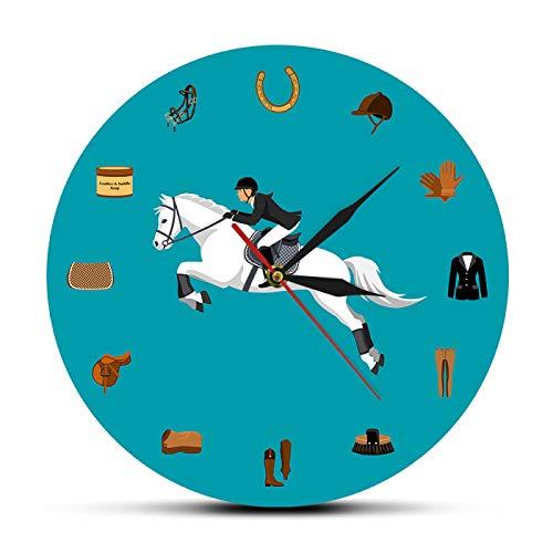 gongyu Conjunto de Equipo Deportivo Ecuestre Reloj de Pared Moderno Equipo de equitación Accesorios de Pista Reloj de Pared Ecuestre Regalos para Amantes de los Caballos