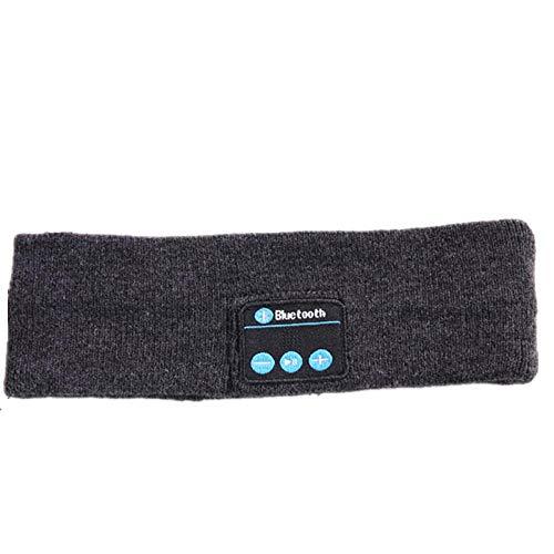 Bluetooth Haarband Sportschal Schweißband Bluetooth Kopfhörer Wireless Yoga Sport Stirnband Headset Waschbare Übung Joggen Tanzen Musik Sitzband-Dunkelgrau