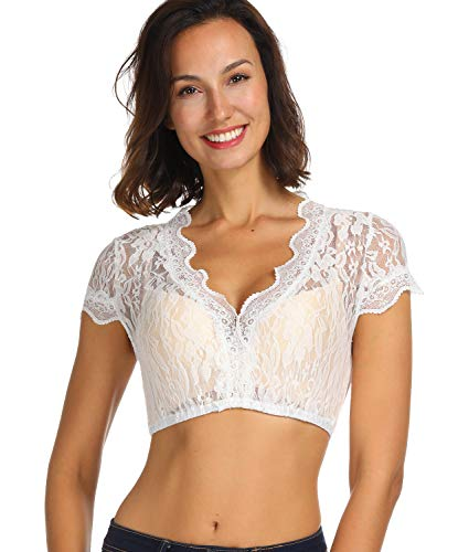 Lever Damen Dirndl Spitzenbluse Kurzarm Dirndlbluse Spitze Dirndl Bluse Weiß Baumwolle Trachten Bluse 40 Herstellergröße L
