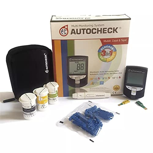 Autocheck 3in1 Blood Monitoring System for Glucose, Cholesterol, and Uric Acid with Lancets and Test Strips