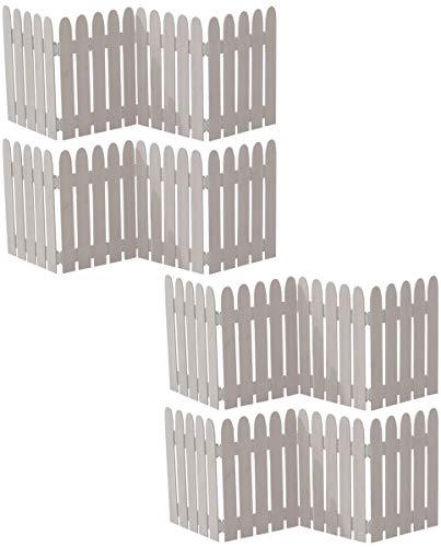ミニフェンス 折りたたみ ガーデンフェンス ホワイト 白 4枚セット 木製 幅121 奥行1.5 高さ44 おしゃれ シンプル ガーデン仕切り 目隠し 飛び出し防止 進入禁止 イベント用 (ホワイト, 4枚組)