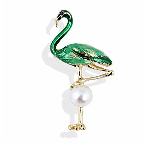 Exquisito broche de flamencos de pie de aleación con perlas artificiales, joyería...